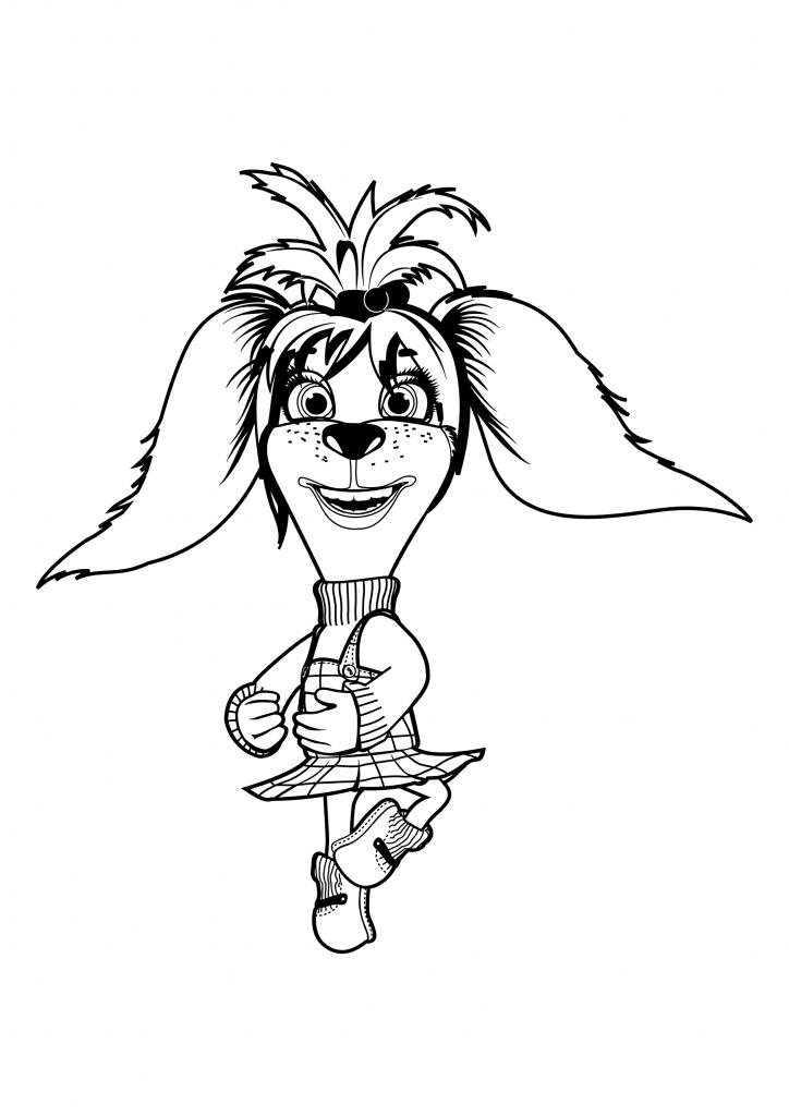 Раскраска для детей из мультфильма «Барбоскины» Лиза, чтобы распечатать в хорошем качестве А4