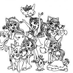 Раскраска для девочек кукла Куклы Энчантималс enchantimals, чтобы распечатать в хорошем качестве А4