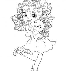 Раскраска для девочек кукла Куклы Энчантималс Попугай Пики Какаду и ее подруга-попугай Шини, чтобы распечатать в хорошем качестве А4