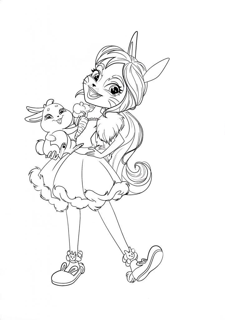 Раскраска для девочек кукла Куклы Энчантималс Бри Кроля и зайка Твист, чтобы распечатать в хорошем качестве А4