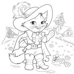 Раскраска из сказки «Кот в сапогах», чтобы бесплатно распечатать А4 для детей