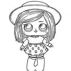 Раскраска для девочек ЛОЛ Ведьмочка в шляпке с волосами, чтобы распечатать в хорошем качестве А4