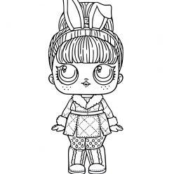 Раскраска для девочек ЛОЛ Snow Bunny с волосами, чтобы распечатать в хорошем качестве А4