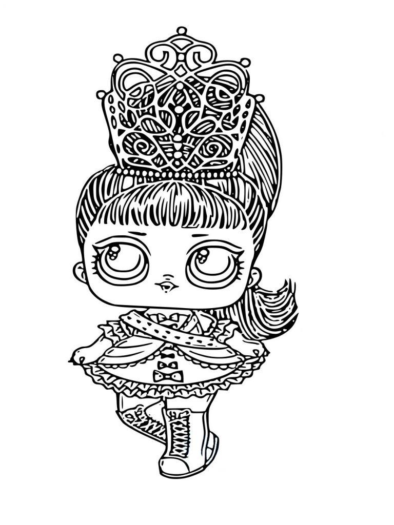 Раскраска для девочек ЛОЛ Her Majesty Королева с волосами, чтобы распечатать в хорошем качестве А4