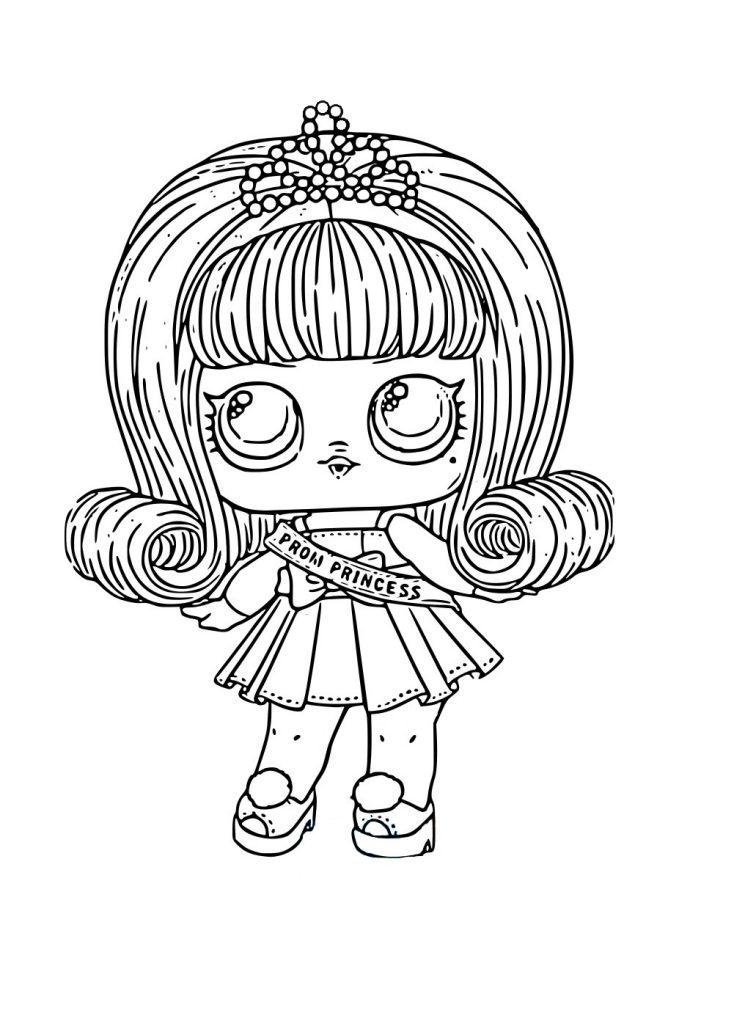 Раскраска для девочек ЛОЛ принцесса с розовыми настоящими волосами Prom Princess, чтобы распечатать в хорошем качестве А4