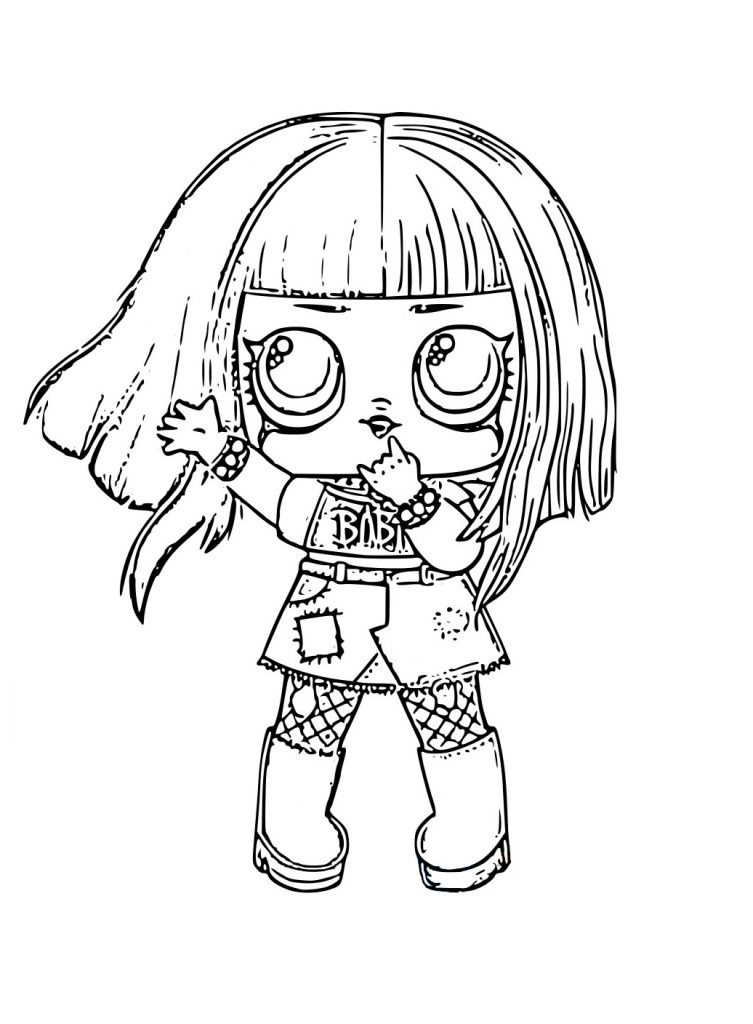 Раскраска для девочек ЛОЛ с волосами 2 серия Metal baby, чтобы распечатать в хорошем качестве А4