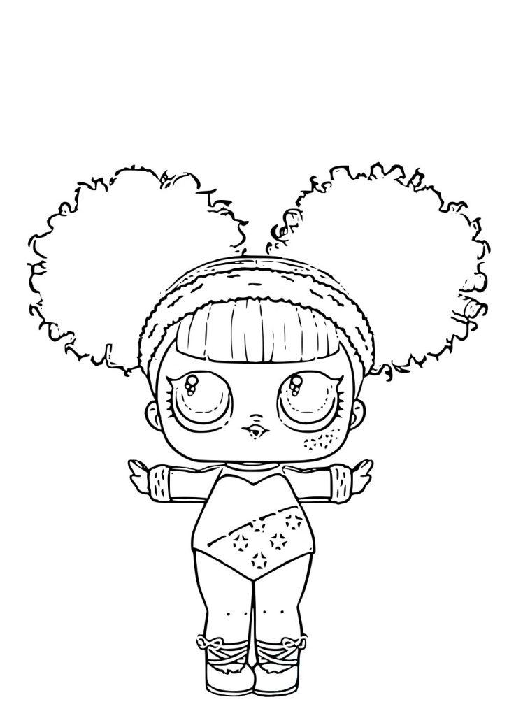 Раскраска для девочек кукла ЛОЛ Splits серия с волосами редкая, чтобы распечатать в хорошем качестве А4