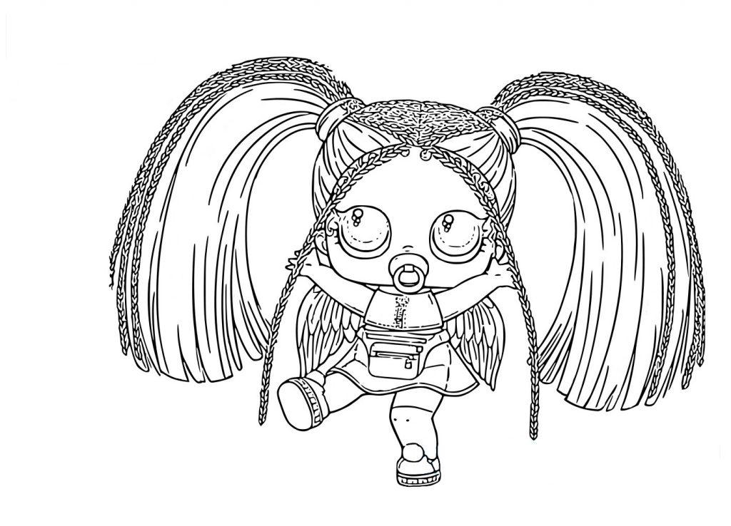 аскраска для девочек кукла ЛОЛ Rainbow Raver с косичками серия с волосами редкая, чтобы распечатать в хорошем качестве А4