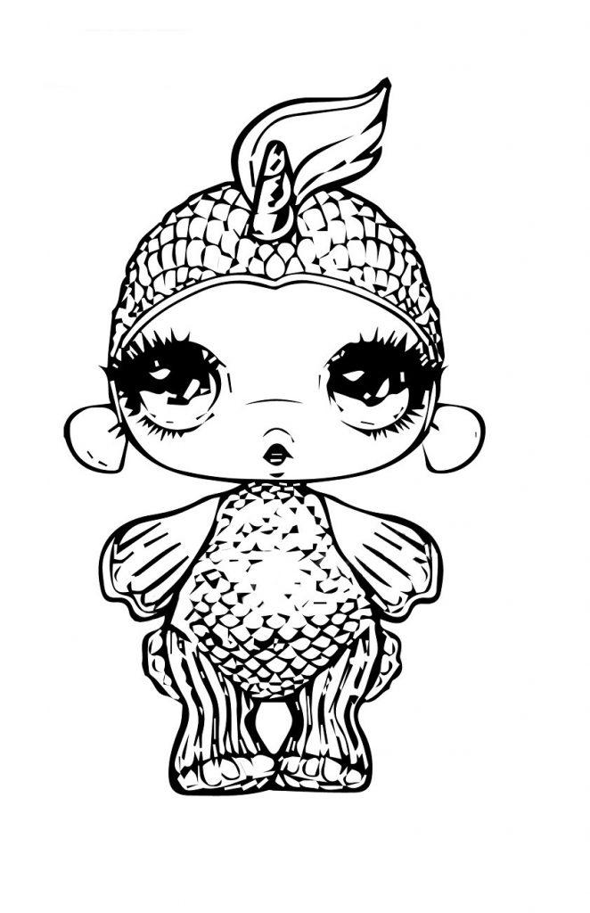 Раскраска для девочек Пупси слайм рыбка, чтобы распечатать в хорошем качестве А4