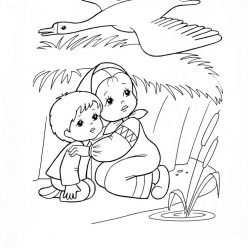 Раскраска из сказки «Гуси-Лебеди» Сестрица и братец, чтобы бесплатно распечатать А4 для детей