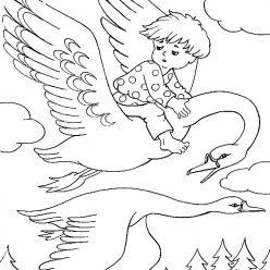 Раскраска из сказки «Гуси-Лебеди» Гуси-лебеди уносят братца, чтобы бесплатно распечатать А4 для детей