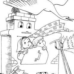 Раскраска из сказки «Гуси-Лебеди» Сестрица и братец в печке, чтобы бесплатно распечатать А4 для детей