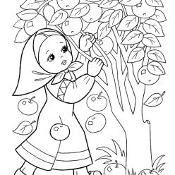 Раскраска из сказки «Гуси-Лебеди» Сестрица и яблоня, чтобы бесплатно распечатать А4 для детей