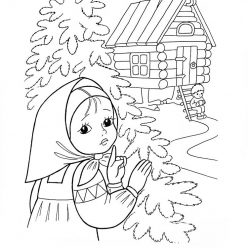 Раскраска из сказки «Гуси-Лебеди» Сестрица нашла братца у бабы Яги, чтобы бесплатно распечатать А4 для детей