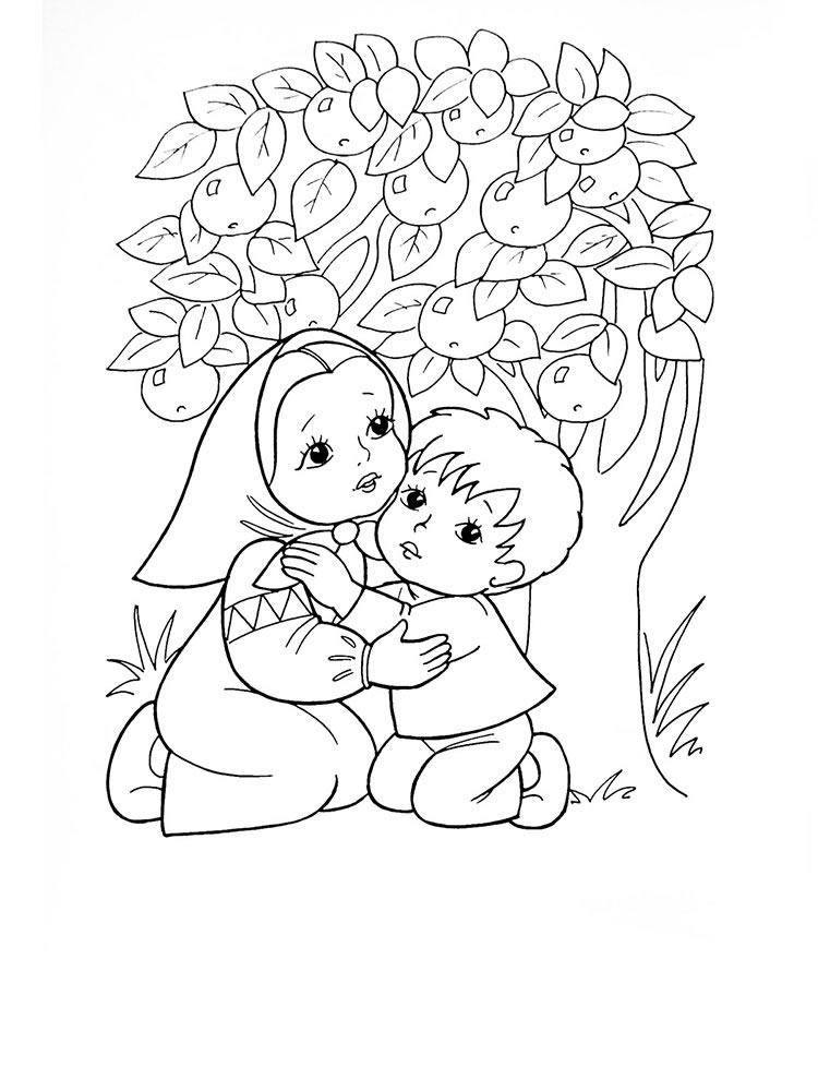 Раскраска из сказки «Гуси-Лебеди» Сестрица и братец прячутся под яблоней, чтобы бесплатно распечатать А4 для детей