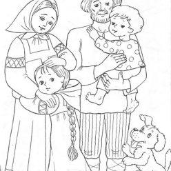 Раскраска из сказки «Гуси-Лебеди» Сестрица и братец вернулись домой, чтобы бесплатно распечатать А4 для детей