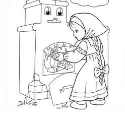 Раскраска из сказки «Гуси-Лебеди» Печка, чтобы бесплатно распечатать А4 для детей
