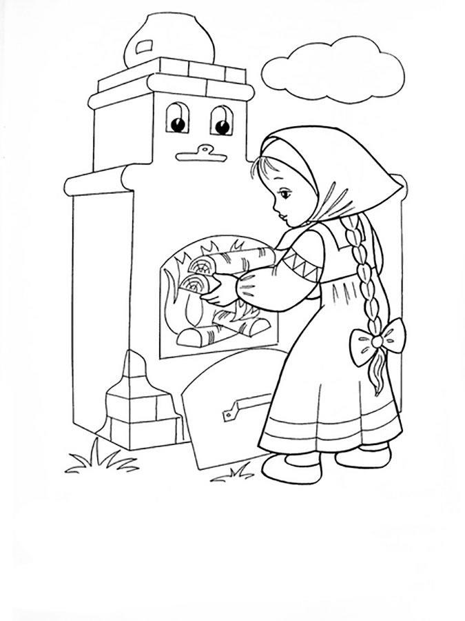 Печка из сказки Гуси-лебеди - Гуси-лебеди - Раскраски ...