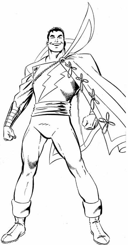 Раскраска для мальчиков Капитан Марвел Шазам, чтобы распечатать в хорошем качестве А4