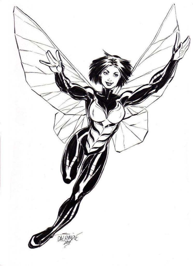 Раскраска для мальчиков Мстители оса Джанет ван Дайн, чтобы распечатать в хорошем качестве А4