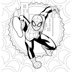 Раскраска для мальчиков супергерои «Марвел» Человек паук с паутиной, чтобы распечатать бесплатно в хорошем качестве А4