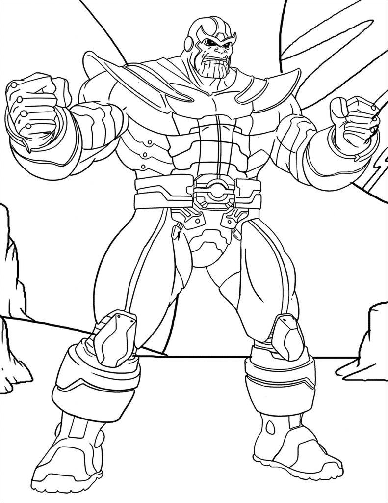 Раскраска для мальчиков супергерои «Марвел» Танос, чтобы распечатать бесплатно в хорошем качестве А4