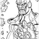 Раскраска для мальчиков супергерои «Марвел» суперзлодей Танос, чтобы распечатать бесплатно в хорошем качестве А4