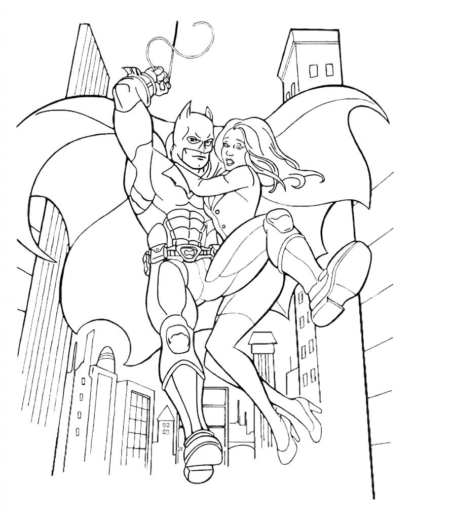 Раскраска для мальчиков супергерои «Марвел» Бэтмен спасает девушку, чтобы распечатать бесплатно в хорошем качестве А4