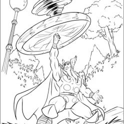 Раскраска для мальчиков супергерои «Марвел» Тор, чтобы распечатать бесплатно в хорошем качестве А4