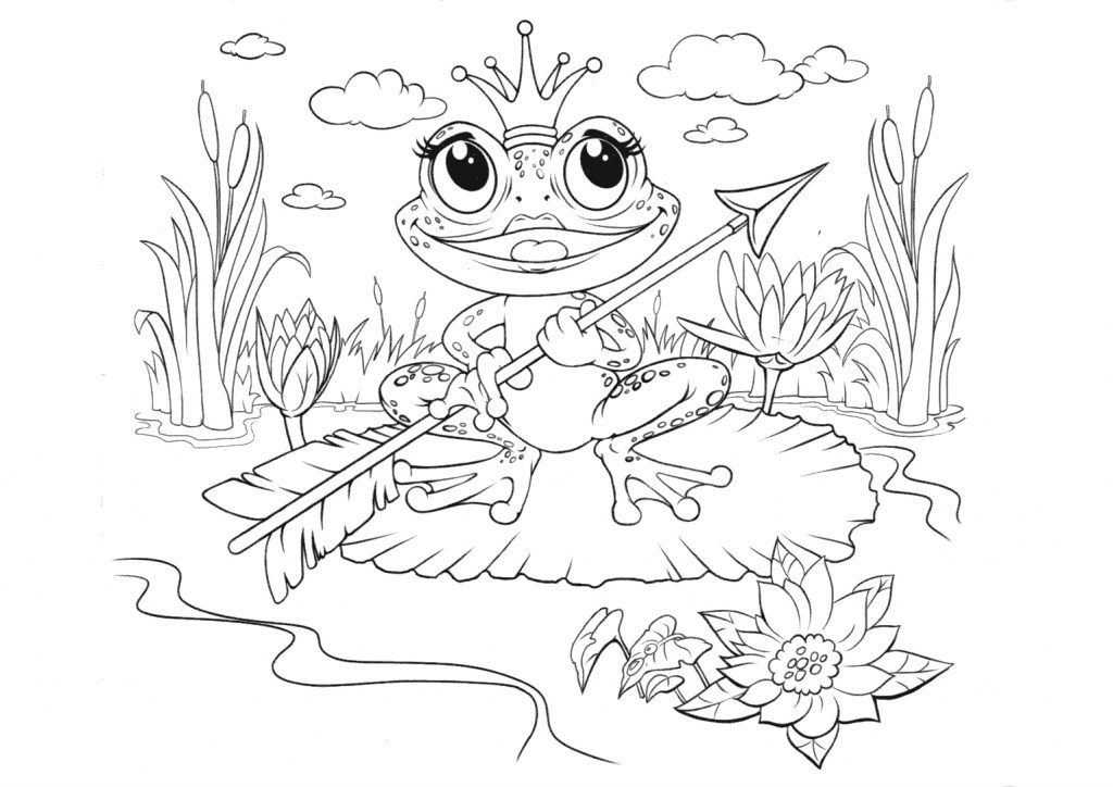 Раскраска из сказки «Царевна Лягушка», чтобы бесплатно распечатать А4 для детей