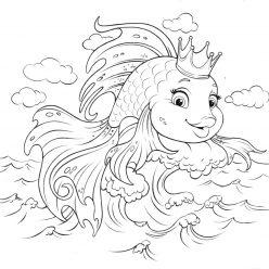 Раскраска из сказки «Золотая рыбка», чтобы бесплатно распечатать А4 для детей