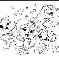 Картинка из мультфильма 44 Котенка все герои, которую можно бесплатно распечатать и раскрасить с детьми