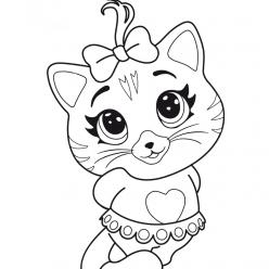 Картинка из мультфильма с кошечкой Пилу 44 Котенка, которую можно бесплатно распечатать и раскрасить с детьми