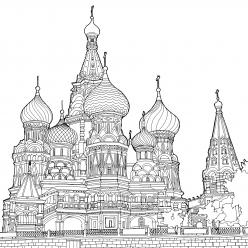 Картинка для раскрашивания Храм Василия Блаженного город Москва