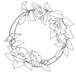 Раскраска цветы камелия, чтобы распечатать в хорошем качестве А4