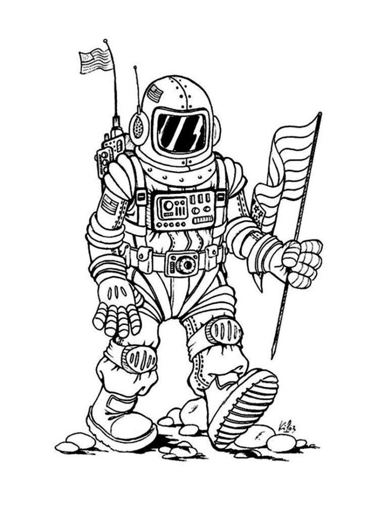 Раскраска для детей на тему «Космос» Астронавт, чтобы бесплатно распечатать А4