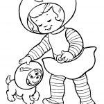 Раскраска для детей на тему «Космос» Космонавт собака, чтобы бесплатно распечатать А4