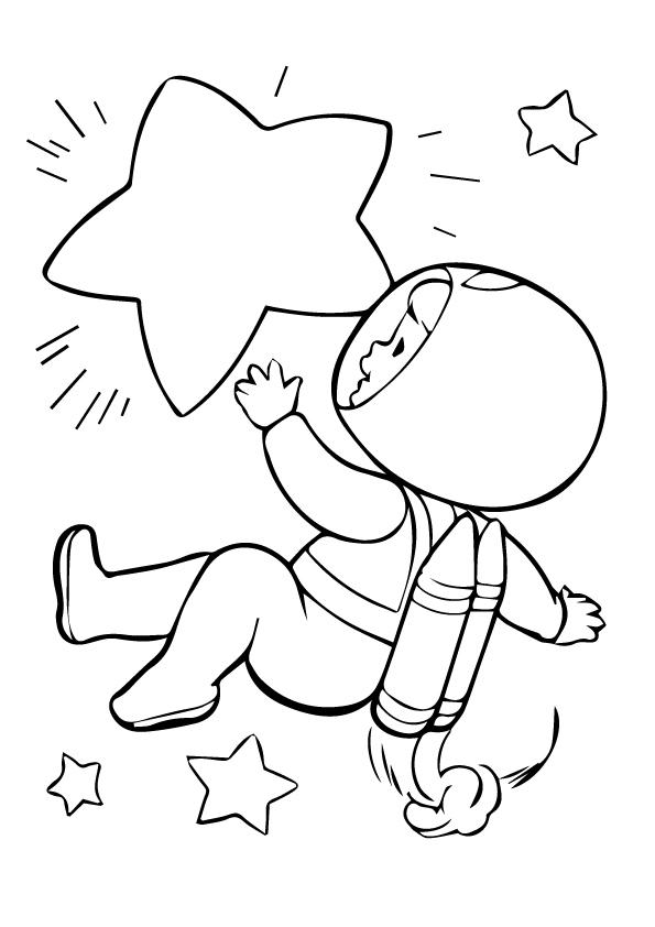 Раскраска для детей на тему «Космос» космонавт, чтобы бесплатно распечатать А4