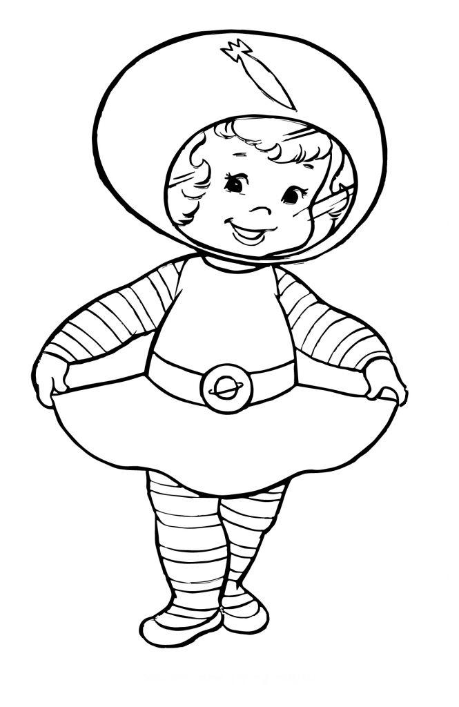 Раскраска для детей на тему «Космос» Космонавт девочка, чтобы бесплатно распечатать А4