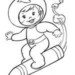 Раскраска для детей на тему «Космос» на ракете, чтобы бесплатно распечатать А4