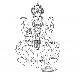 Раскраска Лакшми - богиня благополучия, изобилия, процветания, богатства, удачи и счастья в индуизме, чтобы распечатать в хорошем качестве А4