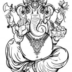 Раскраска Бог Ганеша - в индуизме бог мудрости и благополучия, чтобы распечатать в хорошем качестве А4