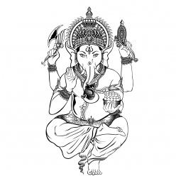 Раскраска Ганеша - в индуизме бог мудрости и благополучия, чтобы распечатать в хорошем качестве А4