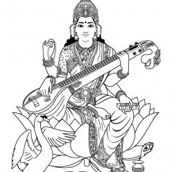 Раскраска Богиня Лакшми, чтобы распечатать в хорошем качестве А4