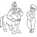 Раскраска из мультфильма «Вперед» Onward Кольт и мама Лорел, чтобы бесплатно распечатать А4 для детей