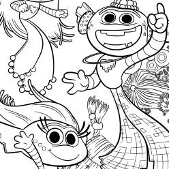 Раскраска из мультфильма «Тролли. Мировой тур», чтобы бесплатно распечатать А4 для детей