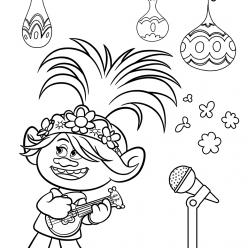 Раскраска из мультфильма «Тролли. Мировой тур» Розочка, чтобы бесплатно распечатать А4 для детей