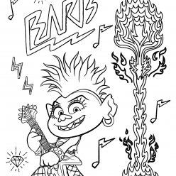 Раскраска из мультфильма «Тролли. Мировой тур» Королева Рокс, чтобы бесплатно распечатать А4 для детей