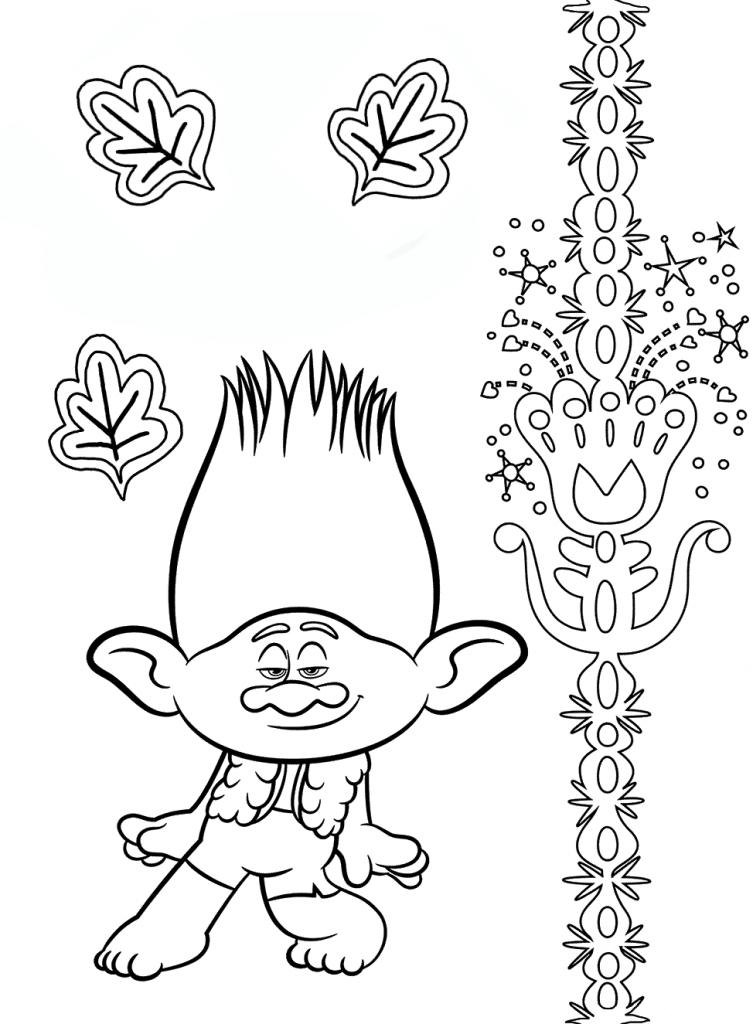 Раскраска из мультфильма «Тролли. Мировой тур» Цветан, чтобы бесплатно распечатать А4 для детей
