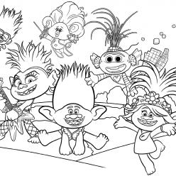 Раскраска из мультфильма «Тролли 2. Мировой тур», чтобы бесплатно распечатать А4 для детей